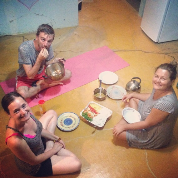 Friends having a floor picnic in Costa Rica