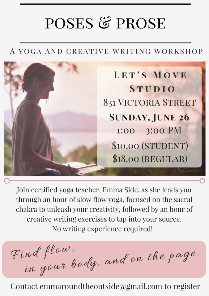 yoga and writing workshop in kamloops, bc
