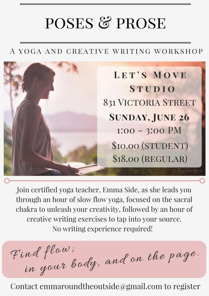 yoga and writing workshop in kamloops, bc