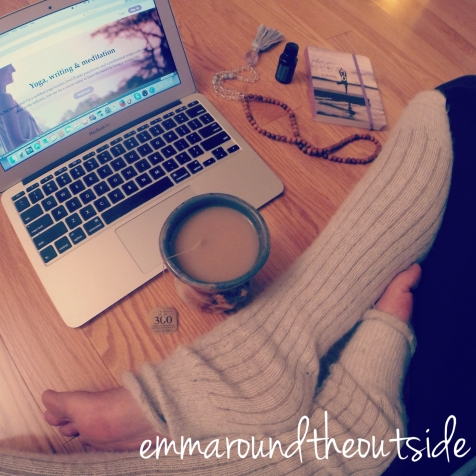 computer, tea, floor, notebook, mala beads