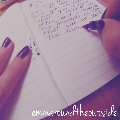 hand written letter by Emma Side